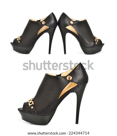 Black high heel women shoes isolated on the white background. Collage - stock photo