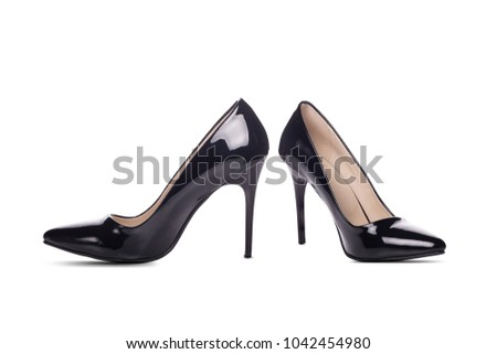 Black high heel women shoes isolated on white background
