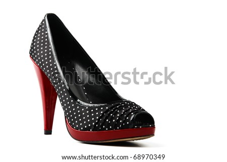 Black high heel women shoes on white background - stock photo