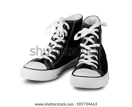Black high top sneakers on a white background