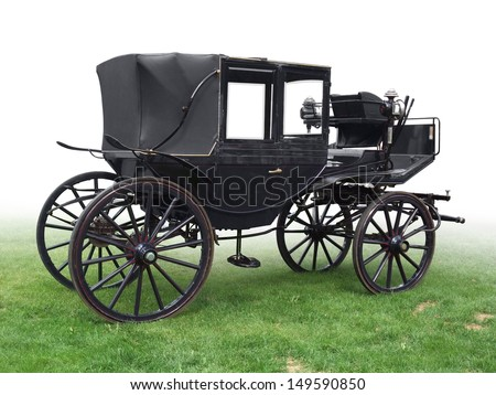 black historic carriage on green grass, gradient isolated on white - stock photo
