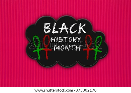 Black History Month Black Thought Cloud Red textured background pattern - stock photo