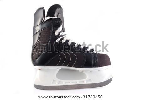 black hockeys skates on a white background - stock photo