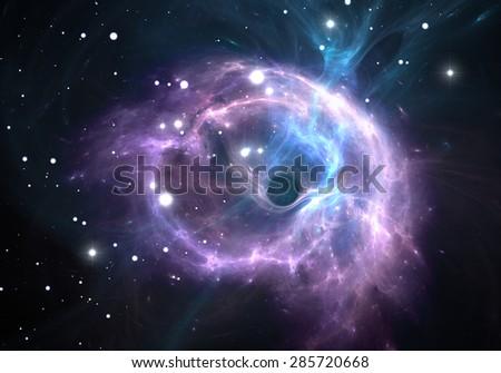 Black hole in the nebula - stock photo