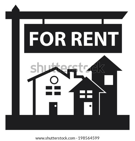 black and white apartment building clip art. Black Home  Apartment Building Condominium or Real Estate For Rent Sign Icon Stock Illustration