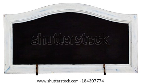 Black horizontal blank chalkboard with white vintage wooden frame including clipping path - stock photo