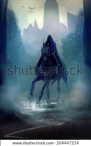 Black horseman. Black fantasy horseman with hood riding in dark forest road illustration. - stock photo