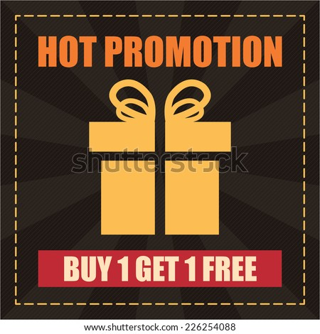 Black Hot Promotion Buy 1 Get 1 Free Label, Icon, Sticker, Brochure, Leaflet or Poster  Isolated on White Background  - stock photo