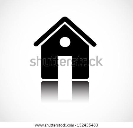 Black house, home icon isolated with reflection - stock photo