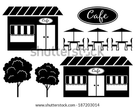 Black icon of cafe. Raster illustration.  - stock photo