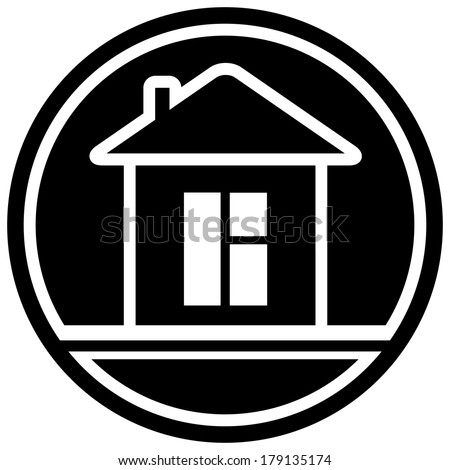 black icon with home and window silhouette - stock photo