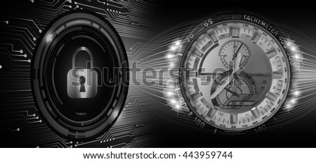 black illustration of technology internet network computer background with binary number, style. infographics. Information. motion blur. pixel. Binary digit. number.  Odometer,clock, watch. key