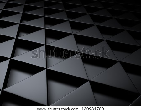 Black industrial metallic background with triangles - stock photo