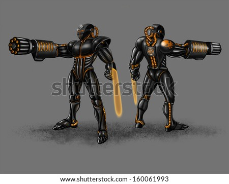 Black infantry in strong black suit with plasma arms