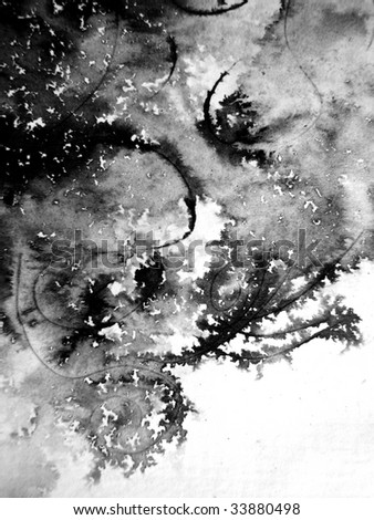 Black Ink Abstract on Watercolor Paper - stock photo
