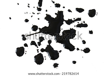 Black ink drops isolated on white background