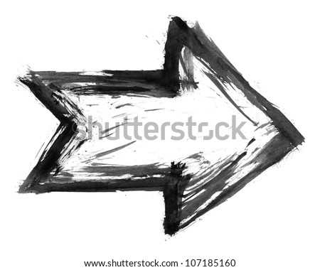 Black ink sketch arrow isolated on white background created paint brush stroke in watercolor handmade technique. - stock photo