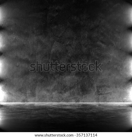 black interior space with spotlight - stock photo