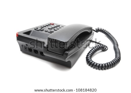 black IP phone isolated on white background closeup - stock photo