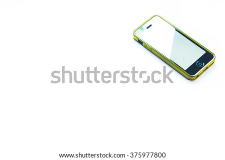 Black Iphone green frame - stock photo