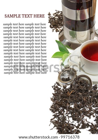 Black iron asian teapot with sprigs of mint for tea - stock photo