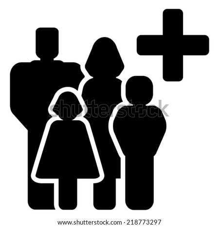 black isolated family medical care icon with cross silhouette