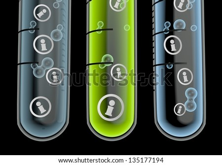 Black  isolated laboratory 3d graphic with isolated information symbol  in three test glasses