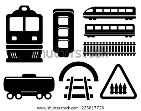 black isolated objects for rail road icons set - stock photo
