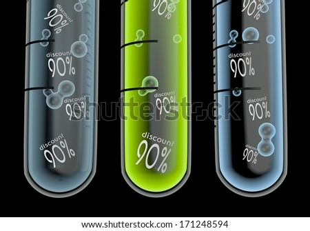 Black  isolated reduction 3d graphic with isolated discount symbol  in three test glasses