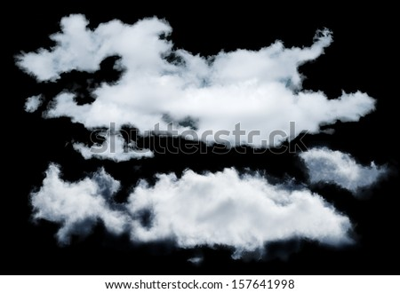 Black isoltaed exctracted clouds. Set of clouds