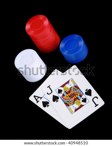 Black jack and poker chips - stock photo