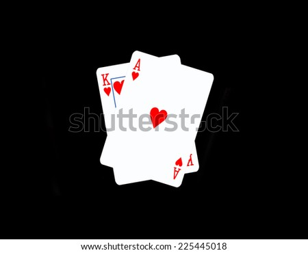 Black Jack,Two cards on black background - stock photo