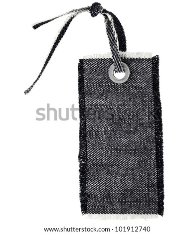 Black Jeans Tag Isolated on White - stock photo