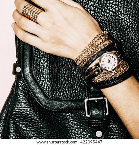 Black Jewelry Fashion. Bracelets, Watches and Rings. Be glamorous Lady.