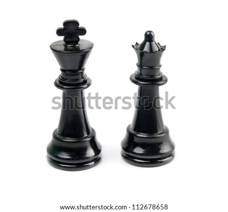 black king and queen is isolated on white - stock photo