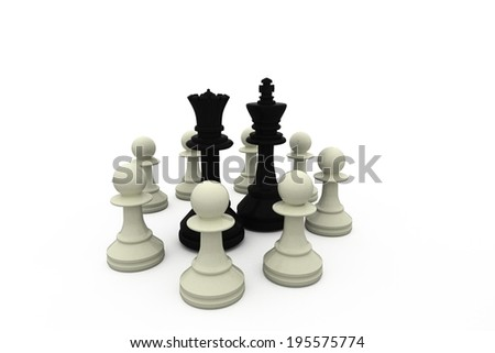 Black king and queen surrounded by white pieces on white background