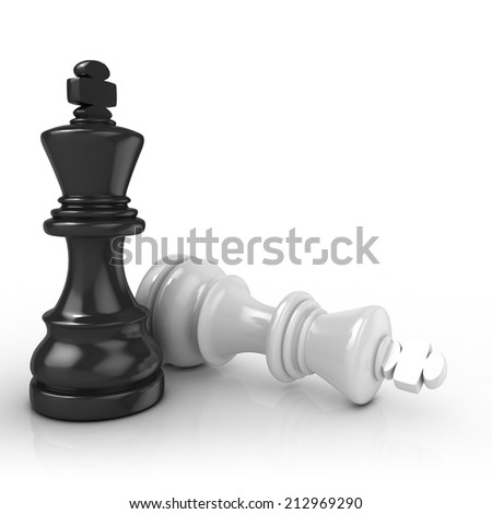Black king chess mate, on white background - stock photo