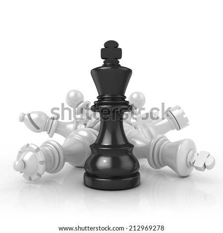 Black king standing over fallen black chess pieces, isolated on white background  - stock photo