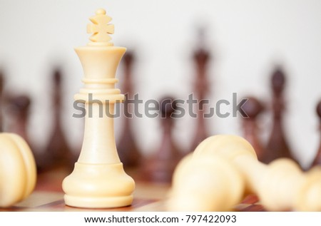 Black King survives to resist opponent. Chess business concept, leadership, challenge, survival. King takes the last chance to fight back.