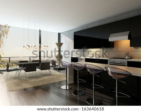 Black kitchen interior with bar stools and dining table