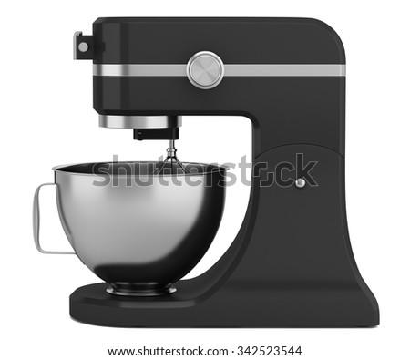 black kitchen mixer isolated on white background - stock photo