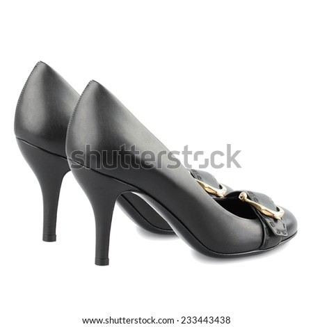 Black kitten heel women shoes with buckle  isolated on white. - stock photo