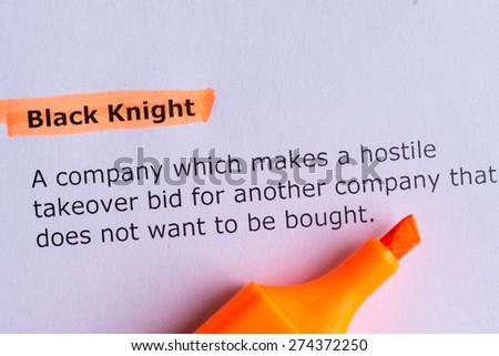 black knight word highlighted on the white paper
