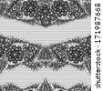 Black Lace seamless pattern with flowers on white background  - fabric design. Raster version - stock photo