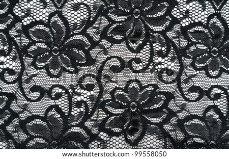 Black lace tracery on a white background - stock photo