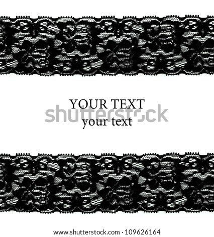 Black lace with pattern in the manner of flower on white background - stock photo