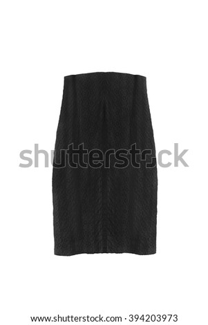 Black lacy high waist skirt isolated over white