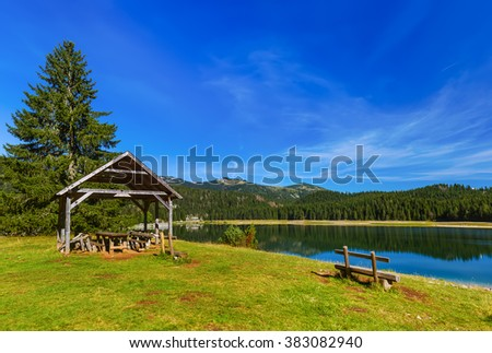 Black Lake (Crno Jezero) in Durmitor - Montenegro - nature travel background