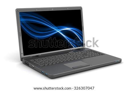 Black Laptop. Background on Screen.