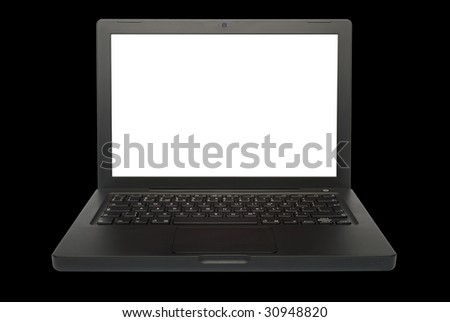 Black laptop computer (notebook) on black background - stock photo